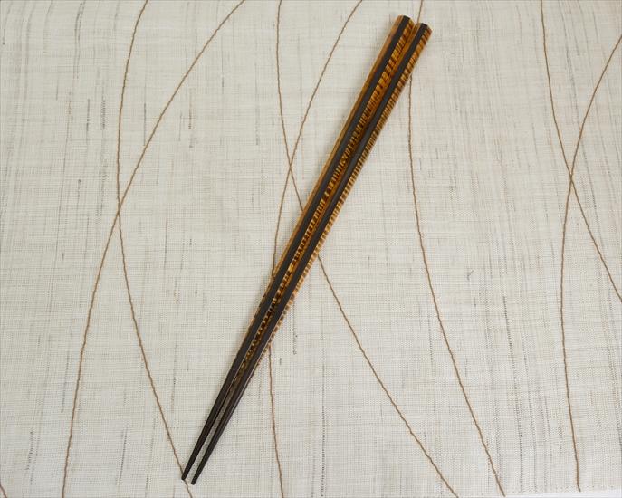 小栗蔵太作,木曽塗箸,栃縮緬杢(黒造り)